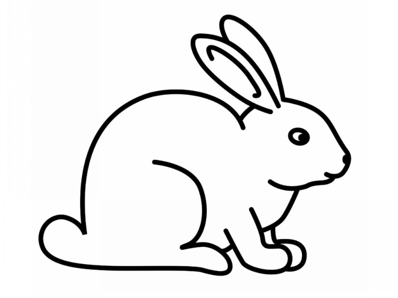 Calm outline sitting rabbit tattoo design