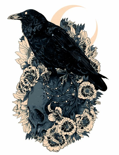 Calm raven sitting on skull with flowers tattoo design