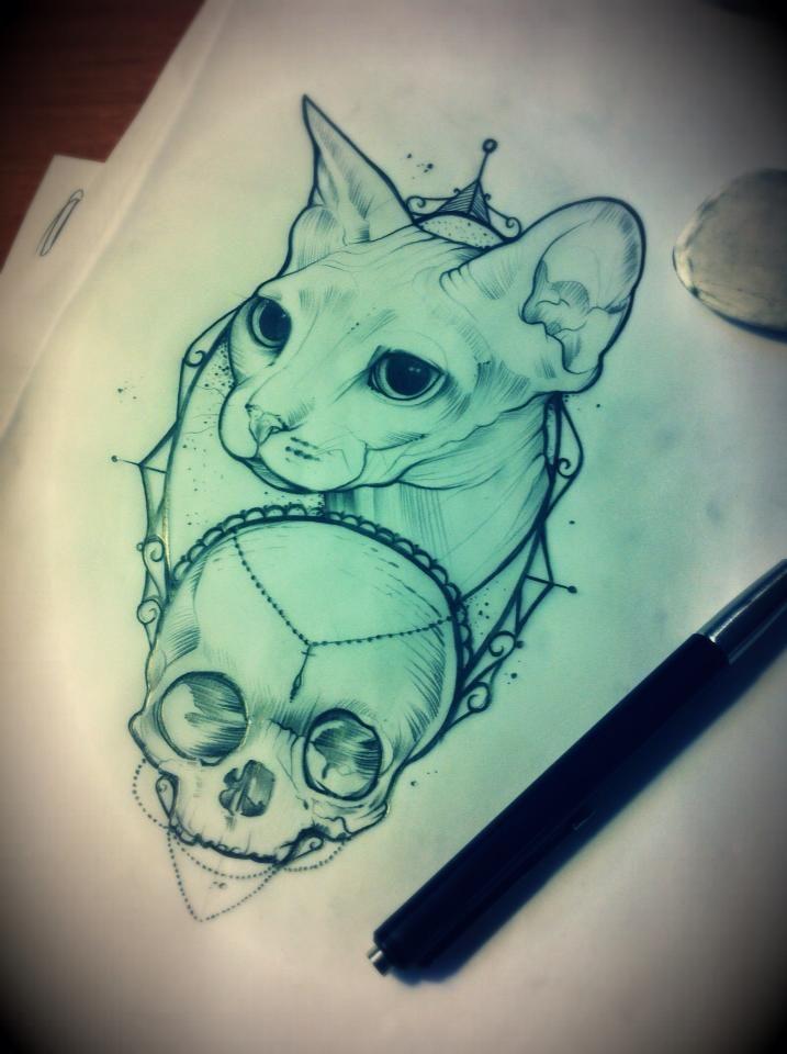 Calm sphynx cat and skull in frame tattoo design