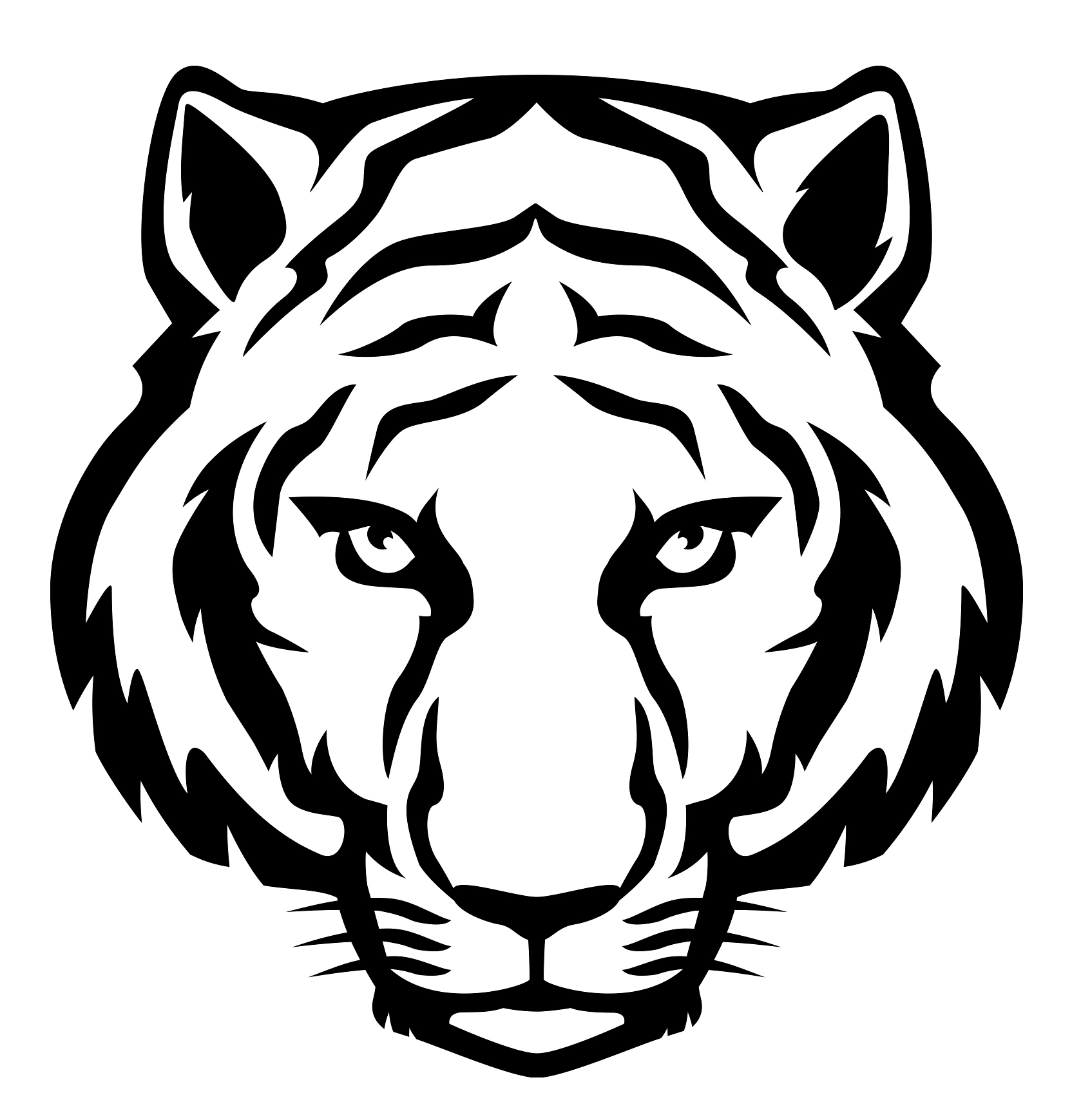 calm tribal waiting tiger head tattoo design