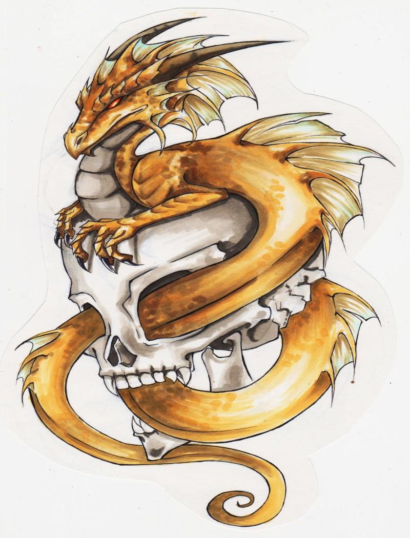 Calm yellow dragon protecting his skull tattoo design