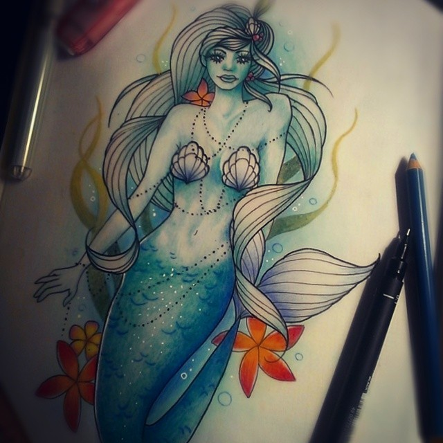 Captivating mermaid in blue shining with orange starfishes tattoo design
