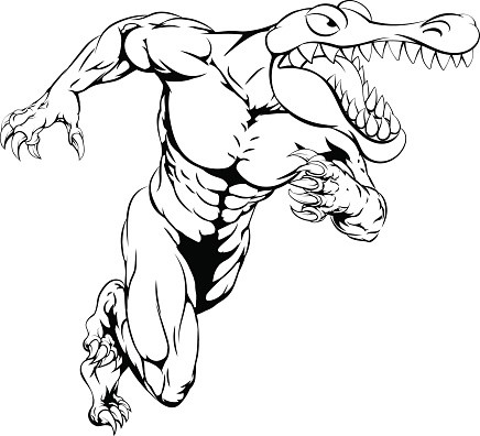 Cartoon Headed Reptile With Muscular Human Body Tattoo Design