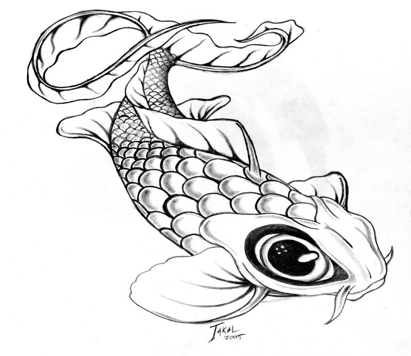 Cartoon big-eyed koi fish tattoo design by Eric Jackman