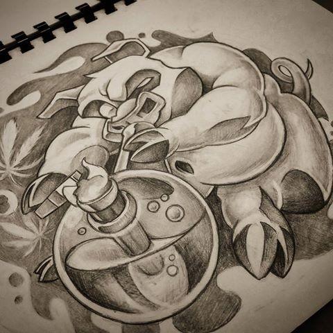 Cartoon black-and-white pig hunting on bulb tattoo design