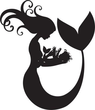 Cartoon black-ink mermaid silhouette with baby tattoo design