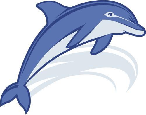 Cartoon blue-ink jumping dolphin tattoo design