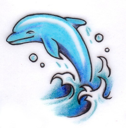 Cartoon blue dolphin with water splashes and bubbles tattoo design