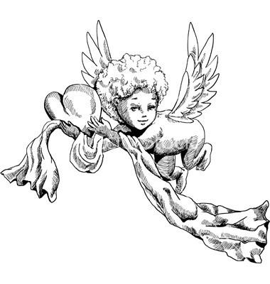 Cartoon cherub angel with a big heart and a stripe tattoo design
