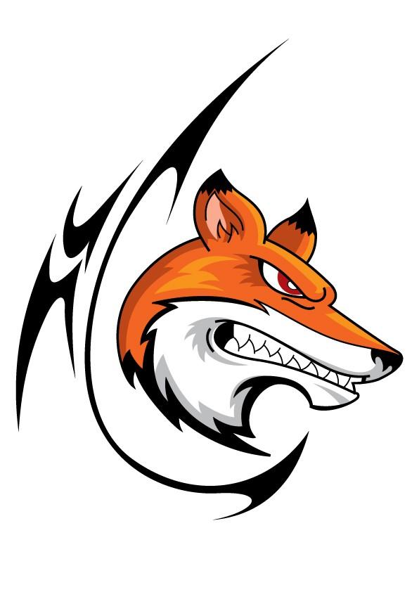 Cartoon colorful fox head with tribal elements tattoo design
