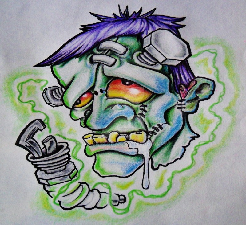 Cartoon colorful franken zombie with biomechanical elements tattoo design