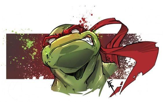 Cartoon colorful ninja mutant turtle head in red eye-stripe tattoo design