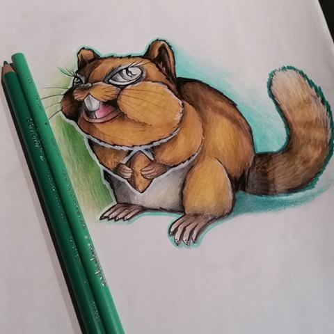 Cartoon colorful rodent on blue-and-green background tattoo design