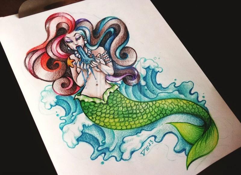 Cartoon colorful vomiting mermaid tattoo design