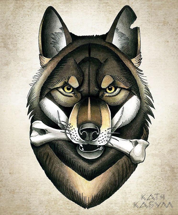 Cartoon colorful wolf with a huge bone in teeth tattoo design