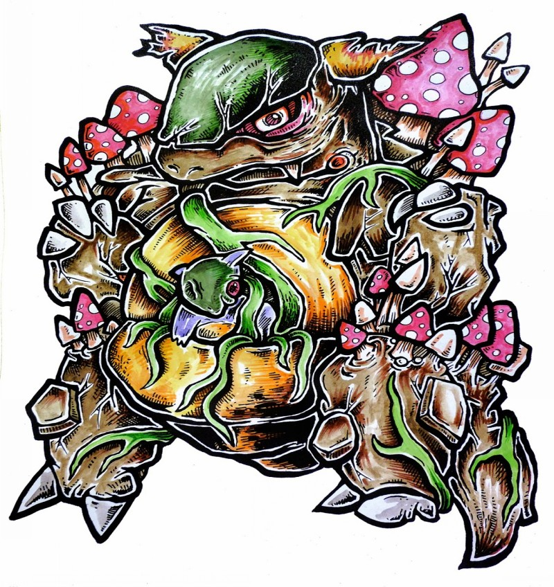 Cartoon colorful zombie pokemon with growing red mushrooms tattoo design
