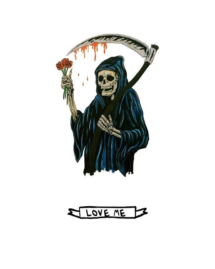 Cartoon death with bloody scythe keeping rose flowers tattoo design