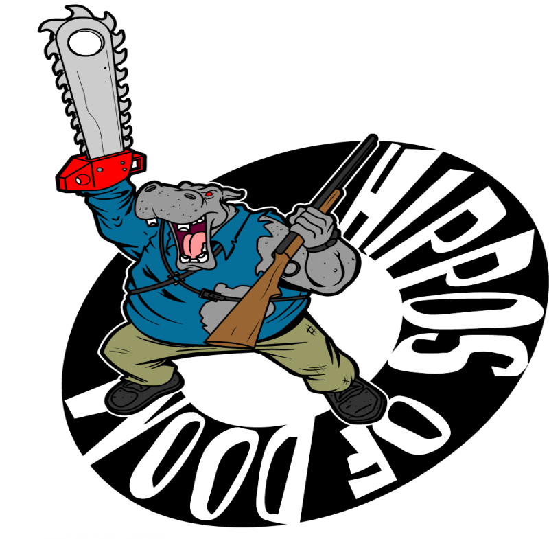 Cartoon dressed hippo poacher and thick quoted circle tattoo design