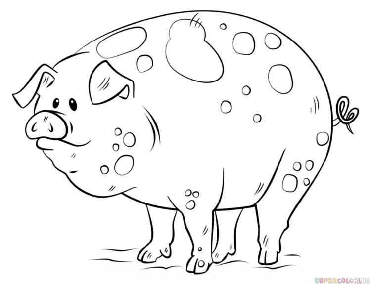 Cartoon fat spotted pig tattoo design