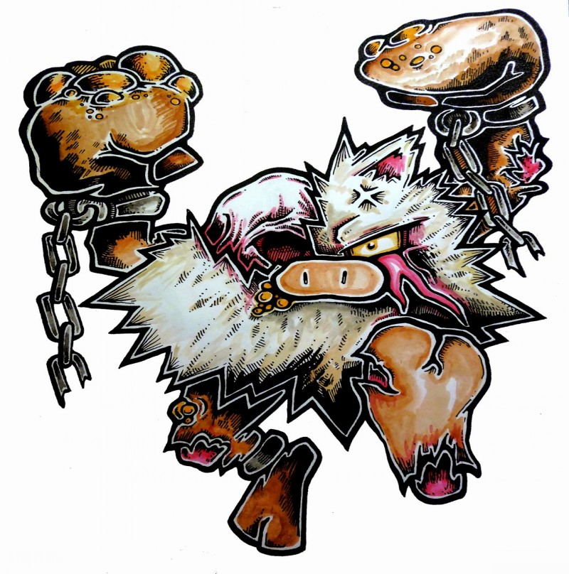 Cartoon fluffy zombie pokemon in chains tattoo design