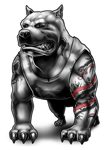 Cartoon grey muscular tattooed dog in T-shirt tattoo design
