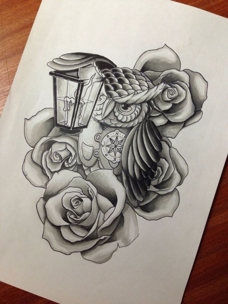 Cartoon Grey Owl With Rose And Street Lamp Tattoo Design   Tattooimages.biz
