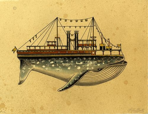 Cartoon grey whale with huge ship deck on back tattoo design