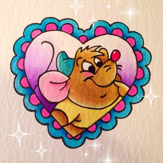 Cartoon multicolor mouse in heart frame tattoo design