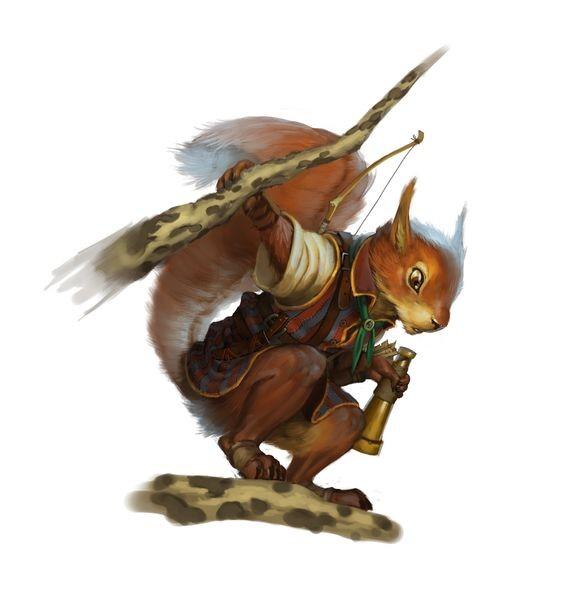 Cartoon multicolor squirrel archer keeping tree branch tattoo design
