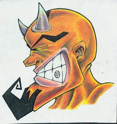 Cartoon orange devil with curled beard and a sign on the tooth tattoo design