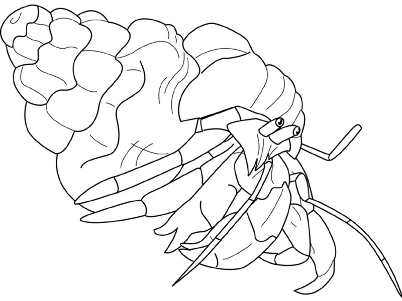Cartoon outline hermit crab pulling its shell tattoo design