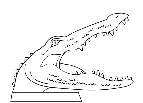Cartoon outline reptile head tattoo design