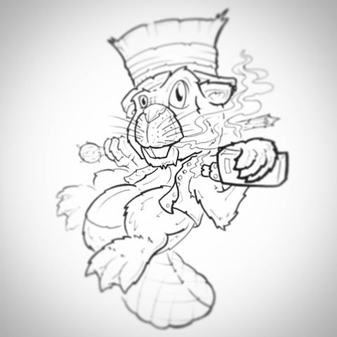 Cartoon outline rodent in hat with smoke tattoo design