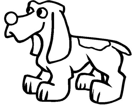 Cartoon outline spotted dog tattoo design