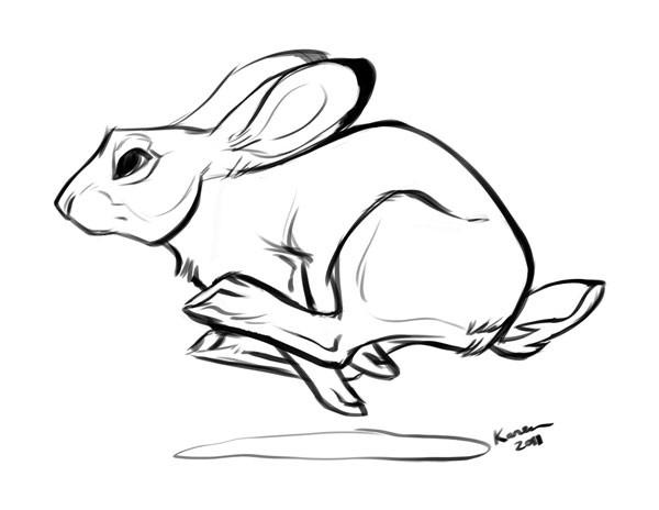 Cartoon outlone running hare tattoo design