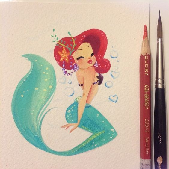 Cartoon painting flirting mermaid tattoo design