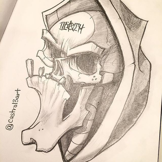 Cartoon pencilwork death portrait tattoo design
