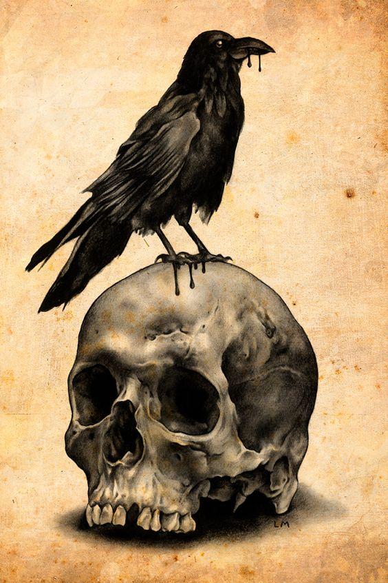 Cartoon raven sitting on scary human skull tattoo design