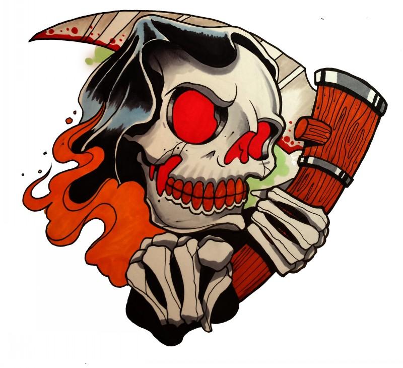 Cartoon red-eyed death skull with a wooden scythe tattoo design