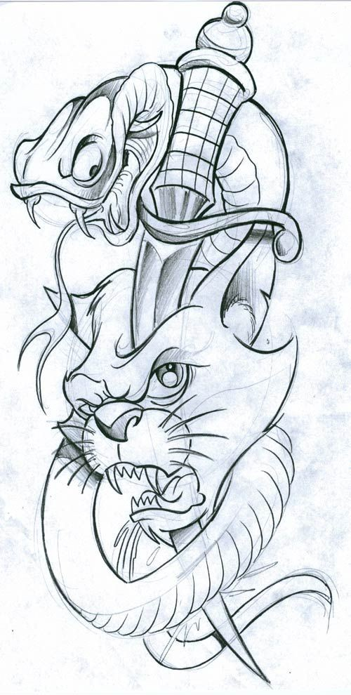 Cartoon snake and cat head killed with dagger tattoo design