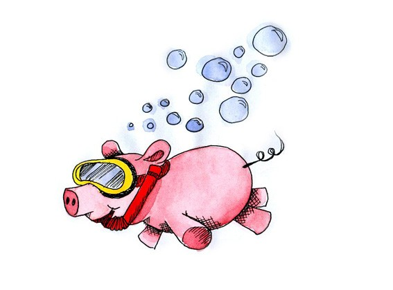 Cartoon snorkeling pig in diving mask with bubbles tattoo design