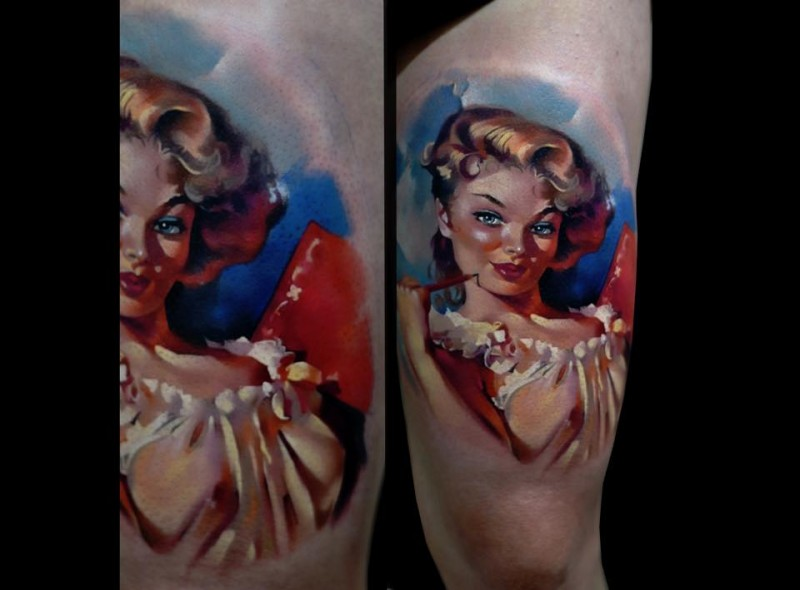 Cartoon style colored thigh tattoo of sexy woman