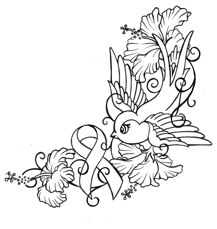 cartoon uncolored bird and hibiscus flowered tattoo design. Black Bedroom Furniture Sets. Home Design Ideas