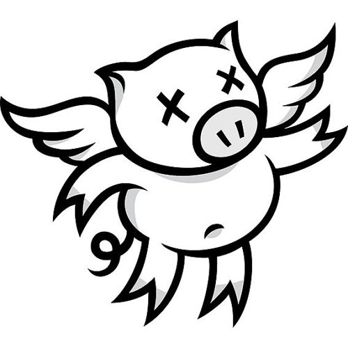 Cartoon uncolored flying pig with crossed eyes tattoo design