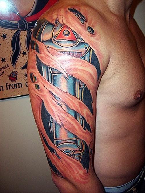 Cartoon vivid-colored robot parts tattoo on arm
