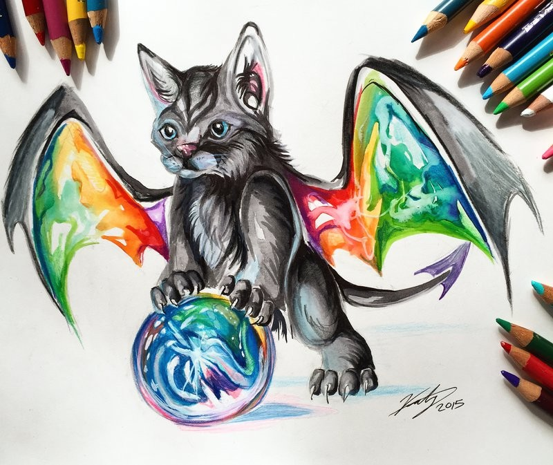 Cat dragon with rainbow wings and space ball tattoo design