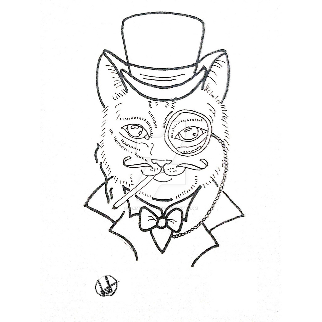Cat majesty in hat with monocle tattoo design by Liamtargett