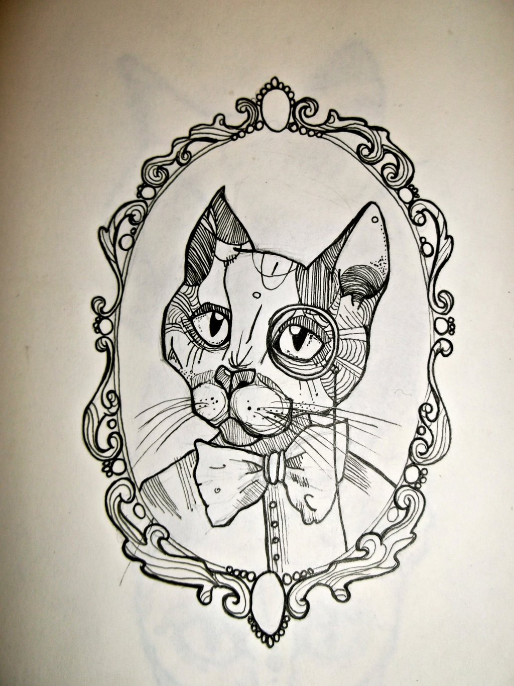 Cat with tie-bow in monocle in curled frame tattoo design by Ronkedoor