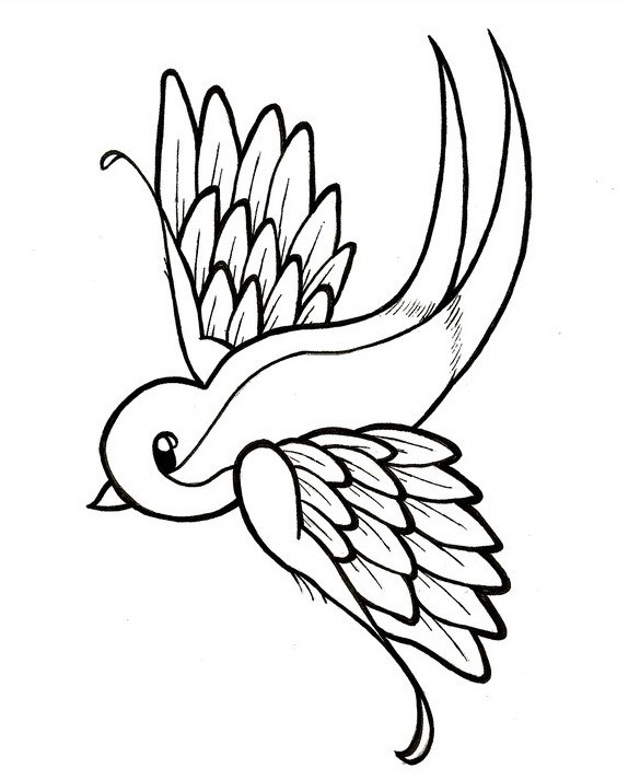 Catroon outline sparrow tattoo design by Protest Love