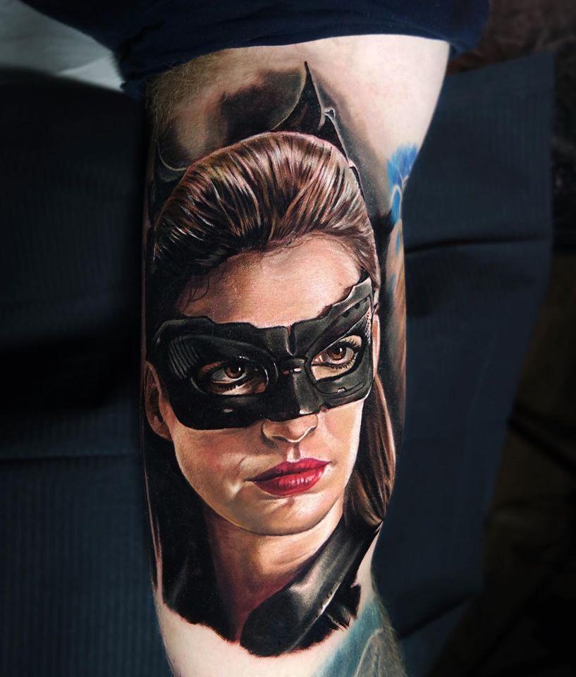 Catwoman portrait comics tattoo